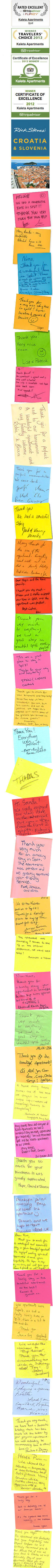 Apartments Split Croatia KALETA APARTMENTS - Guests Gratitude Notes